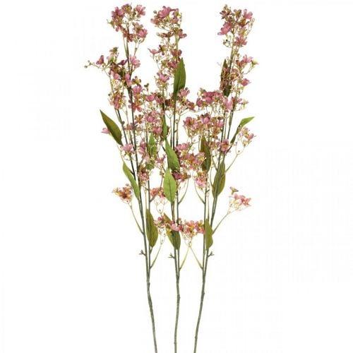 Dekozweig mit Blüten künstlich Rosa Daphne Zweig 110cm 3St