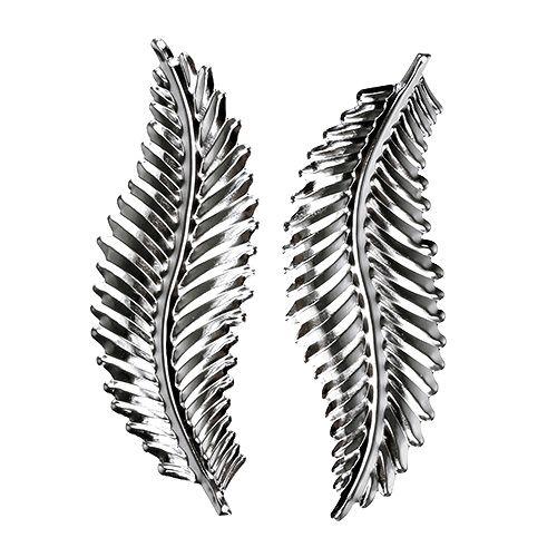 Deko-Blatt aus Metall Silber 4cm x 12cm 12St