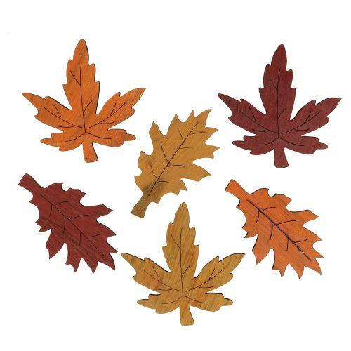 Deko Blatt Mix Holz Gelb, Orange, Dunkelrot 8cm 18St