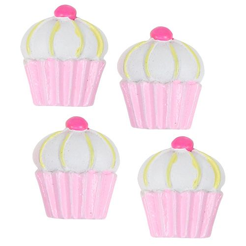 Miniatur Deko-Cupcakes Rosa, Weiß 2,5cm 60St