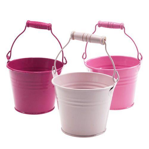 Deko eimer aus blech pink rosa 10cm 10st preiswert for Deko aus rostigem blech