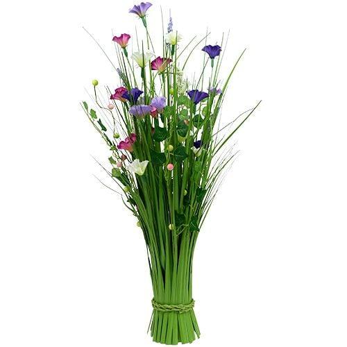 Deko-Gras mit Blumen 72cm bunt