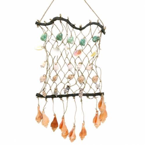 Deko-Netz zum Aufhängen mit Muscheln Natur 25×45cm