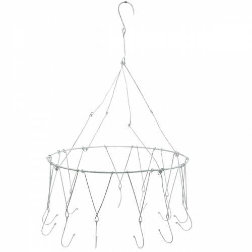 Deko-Ring zum Aufhängen Ø30cm Kräuterkrone Weiß gewaschen Deckenhänger