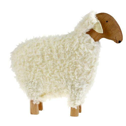 Deko Schaf aus Holz und Wolle ca. 46cm