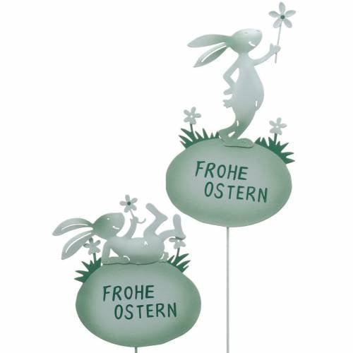Deko-Stecker Ostern Hase Metall Grün Osterhasen Osterdeko 4St