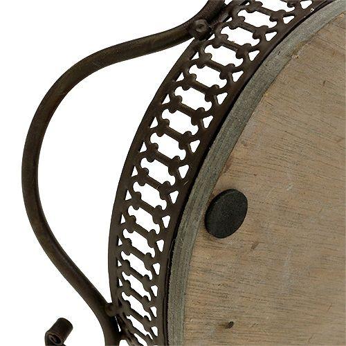 Deko Tablett oval 23cm x 17,5cm x 7,5cm Braun