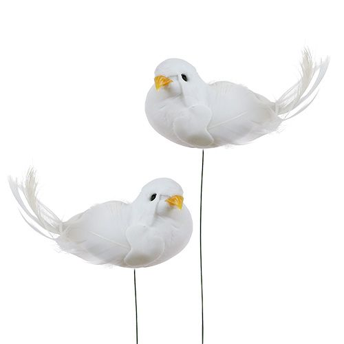 Deko-Tauben am Draht Weiß 9cm 6St preiswert online kaufen