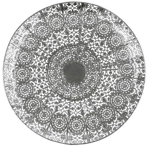 Deko-Teller Silber mit Motiv Ø35cm