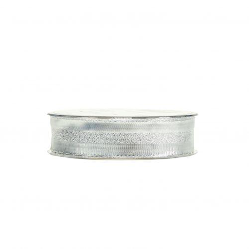 Deko Band Silber mit Streifen 25mm 20m