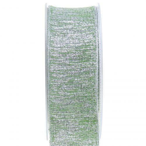 Deko Band mit Glimmer Grün 40mm 20m