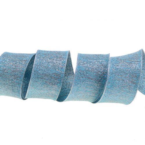 Deko Band mit Glimmer Hellblau 40mm 20m