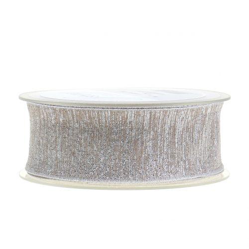 Deko Band mit Glimmer Natur, Silber 40mm 20m