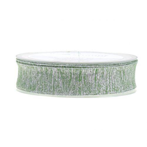 Deko Band mit Glimmer Grün 25mm 20m