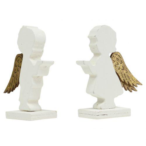 Deko Engel Weiß mit Goldflügel 8,5cm 8St