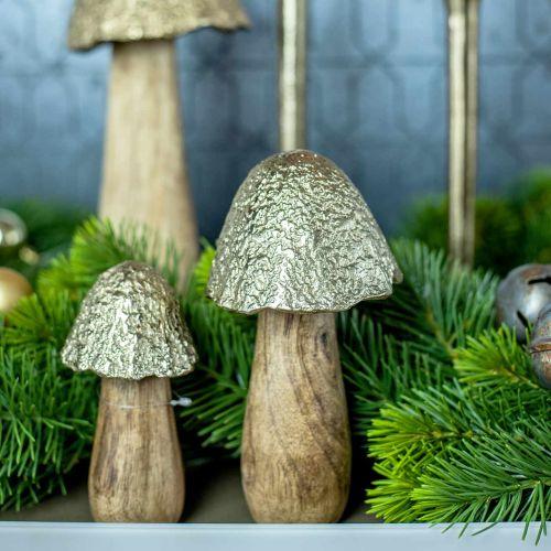 Deko Pilz Metall Holz Golden, Natur Tischdeko Herbst 18,5cm