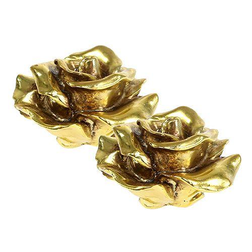 Deko Rosen Gold 8cm 6st Preiswert Online Kaufen