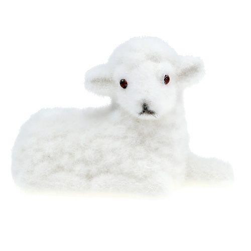 Deko Schaf beflockt 15cm Weiß 3St