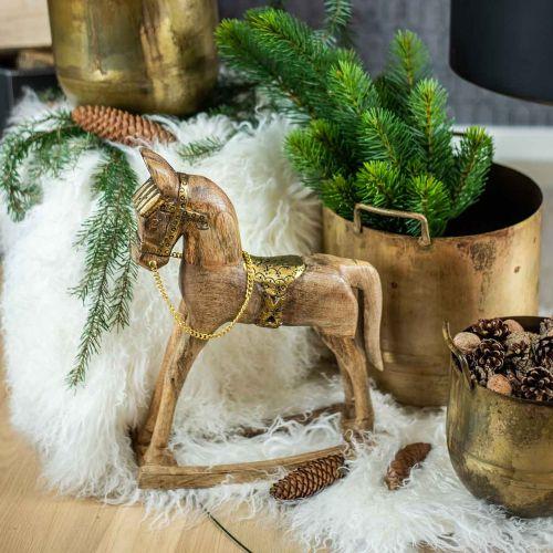 Deko Schaukelpferd Holz massiv Weihnachten Natur, Golden 28×39×9,5cm