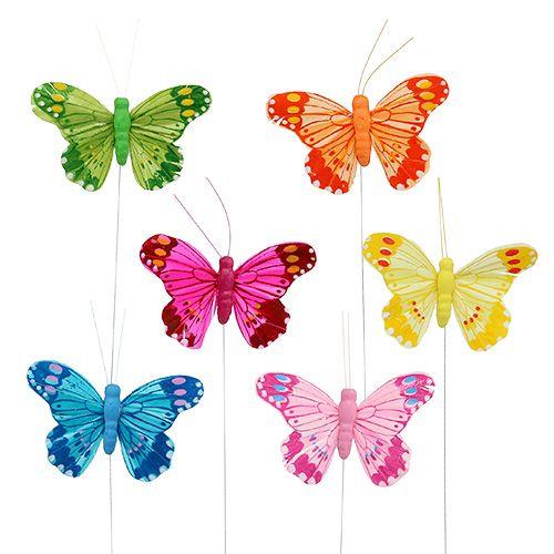 Deko-Schmetterling 9cm farbig sort. 24St preiswert online kaufen
