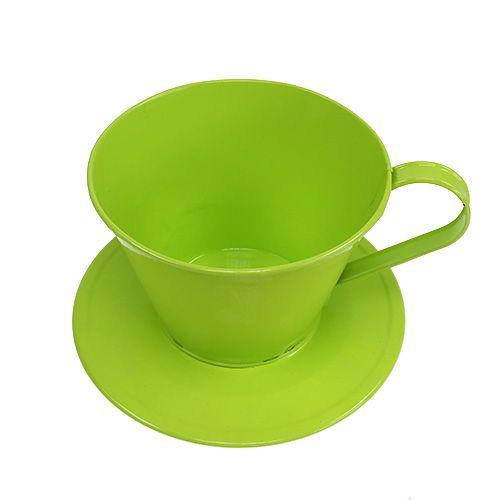 deko tasse mit teller gr n 16cm h11cm preiswert online kaufen. Black Bedroom Furniture Sets. Home Design Ideas