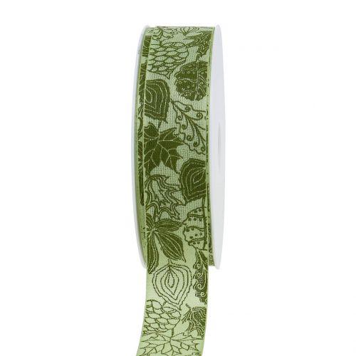 Geschenkband Herbstlaub Grün 25mm 18m