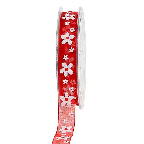 Dekoband Rot mit Blumen 15mm 20m