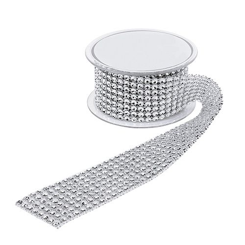 Dekoband mit Strasseffekt Silber 40mm 2m