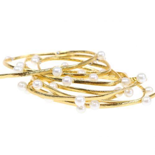 Dekoband Gold mit Perlen 10mm 8m