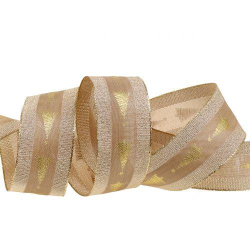 Dekoband Gold mit Tanne 40mm 15m