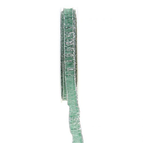 Dekoband Grün mit Silber Lurex drahtverstärkt 10mm 20m
