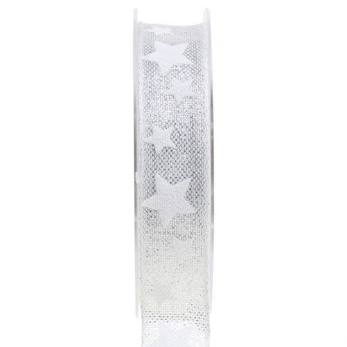 Dekoband Silber mit Stern 25mm 15m