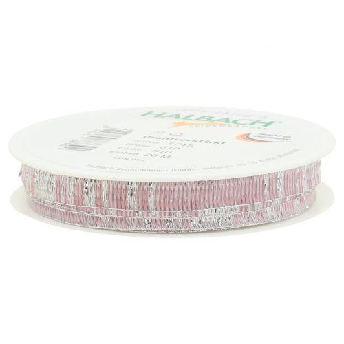 Dekoband Rosa mit Silber Lurex drahtverstärkt 10mm 20m