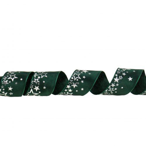 Dekoband Stern-Muster Grün-Silber 40mm 25m