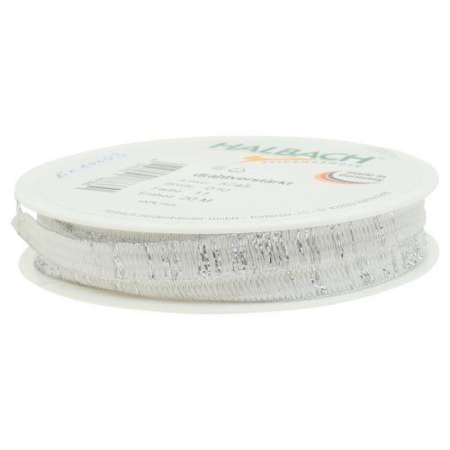 Dekoband Weiß mit Lurex drahtverstärkt 10mm 20m