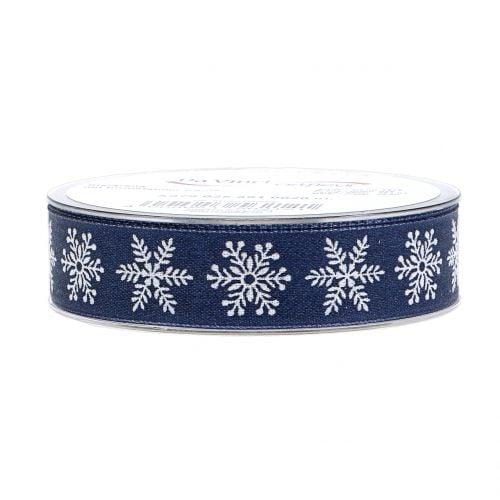 Dekoband mit Schneeflocke Blau  25mm 20m