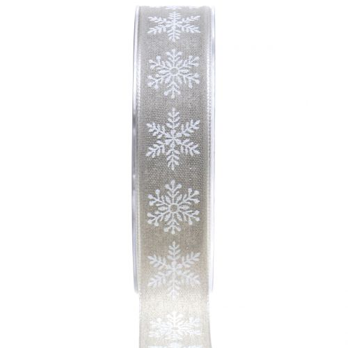 Dekoband mit Schneeflocke Grau 25mm 20m