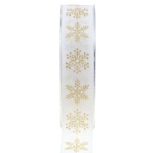 Dekoband mit Schneeflocke Weiß 25mm 20m