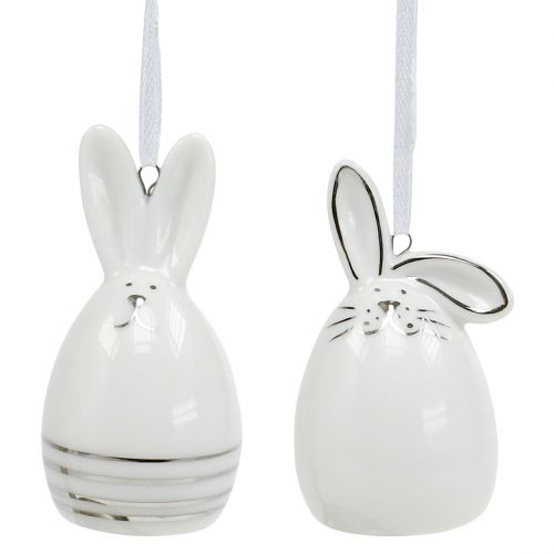 Dekofigur Hase zum Hängen Weiß, Silber 6St
