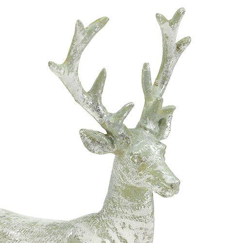 Dekofigur hirsch hellgr n silber 22cm preiswert online kaufen for Hirsch silber
