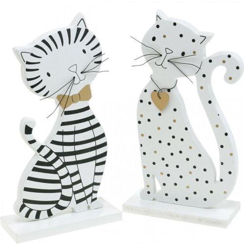 Dekofigur Katze, Ladendekoration, Katzen-Figuren, Holzdeko 2St