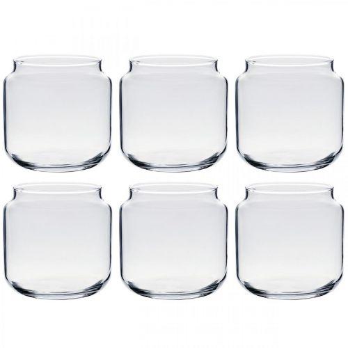 Dekoglas, Blumenvase, Glas-Windlicht, Tischdeko Ø10,5cm H10cm 6St