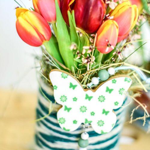 Hängedeko Herz Blume Schmetterling Weiß, Grün Holz Frühlingsdeko 6St