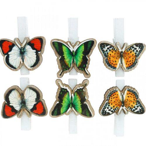 Dekoklammer Schmetterling, Geschenkdeko, Frühling, Schmetterlinge aus Holz 6St