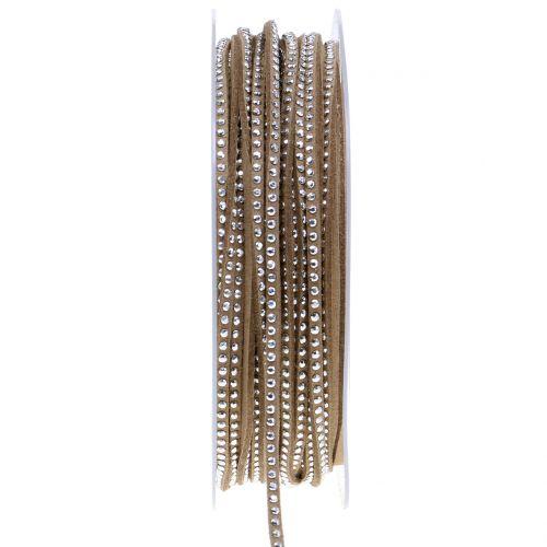 Dekokordel Lederband Braun mit Nietenbesatz 3mm 15m