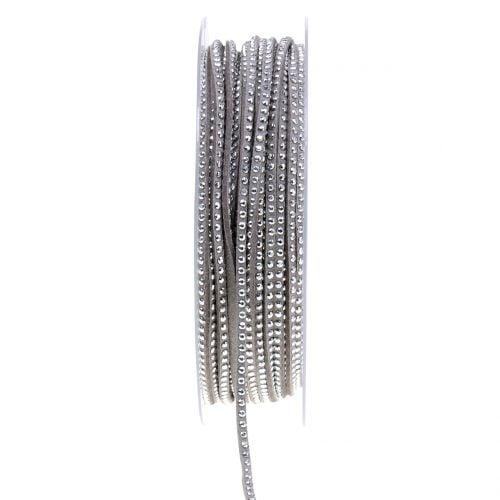 Dekokordel Lederband Grau mit Nietenbesatz 3mm 15m