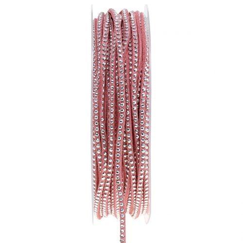 Dekokordel Lederband Rosa mit Nietenbesatz 3mm 15m