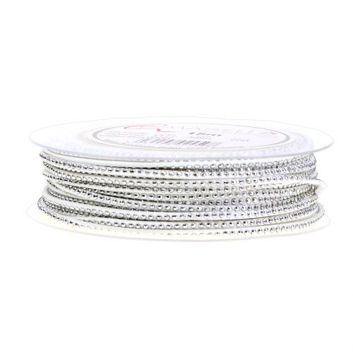 Dekokordel Lederband Weiß mit Nietenbesatz 3mm 15m