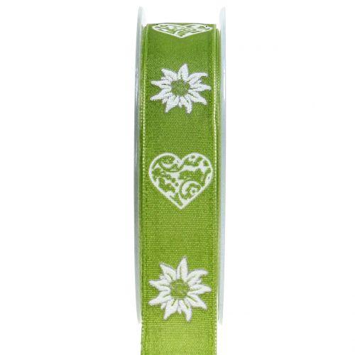 Dekorationsband mit Edelweiß Grün 25mm 20m