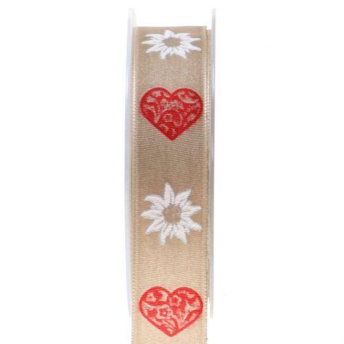 Dekorationsband mit Edelweiß Natur 25mm 20m